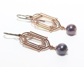 Deco Earrings Copper and Pearl