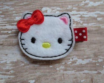 White and Red Kitty Hair Clip - Feltie Clip
