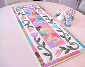 Handmade Quilted Spring Tulips Table Runner in Pastel colors on white floral background