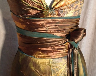 Gold bronze  HENRY dress with sash by momosoho boho bridal gowns mother of the bride beach dresses tie dye island dresses