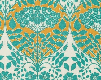 LEAFY DAMASK in Teal and Mustard (pwJD088) - BOTANIQUE - Joel Dewberry  - Free Spirit Fabric - By the Yard