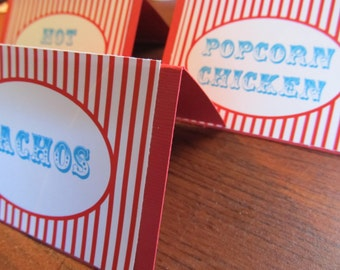 Food Tents - Circus Theme Decor - Carnival Party Decor - Candy Buffet - Food Buffet - Food Cards - Place Cards - 12 Circus Food Tents