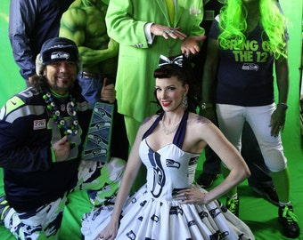 Seahawks dress Custom Made to order Geekery Pin up Seattle Seahawks Football SweetHeart Ruffled Halter Mini Dress