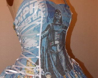 Custom Made to Order Star Wars Empire Strikes Back Lace Halter Corset Geekery Pin Up Dress
