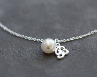 Custom Bridesmaid Gift Set of 4, Sterling Silver Initial Bracelet, Personalized Pearl Bridesmaid Jewelry