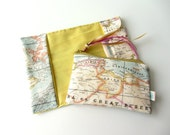 "Travel gift set World map yellow blue passport cover small coin purse  ""It's a small world"""