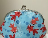 Medium Handmade Coin Purse - Cute Goldfish in Pool