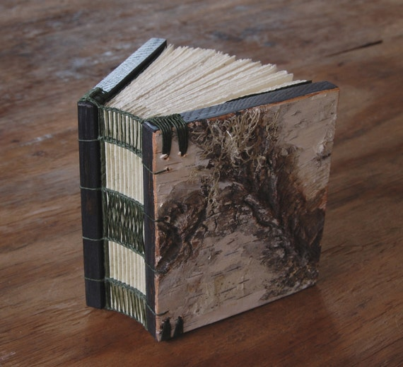 unique handmade  journal - mini birch bark wood book pastel gray silver rustic woodland forest natural / made to order