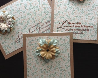Beautiful Flower Cards With Quotes - Set of 3