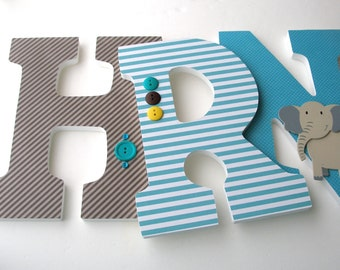 Baby Boy Nursery Wall Letters - Brown and Teal Turquoise - Custom Wooden Letter Set