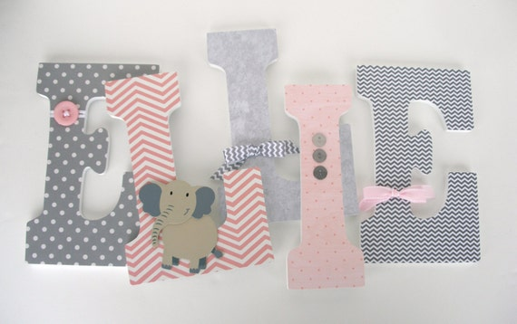 Custom Wood Letters For Girls Pink And Gray Elephant Theme