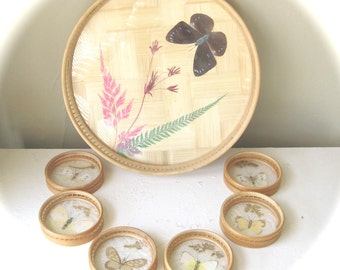 1970s Vintage Butterfly Taxidermy Pressed Flower Tray and Coaster Set, Real Butterflies, Dried Flowers, Boho Bohemian Decor