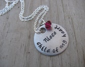 """Niece Necklace, Gift for Niece """"Niece- child of my heart"""" with a birthstone or accent bead in your choice of colors"""