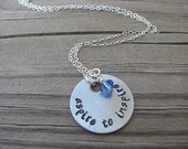 "Inspiration Necklace- ""aspire to inspire"" with an accent bead in your choice of colors- Hand-Stamped Jewelry"