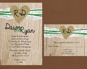 Rustic Wedding Invitation, Rustic Wedding Invitation, Lace Wedding Invitation, Burlap Wedding Invitation