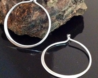 Smooth and Sophisticated Sterling Silver Flared Hoop Ear Wires E16