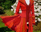 Reserved for Pam, please do not purchase  - Sunburst - Pixie coat from recycled sweaters by SpiralGypsy - size M/L - Ready To Ship