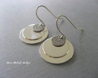 Simple Silver Coin Earrings, Silver Dangle Earrings