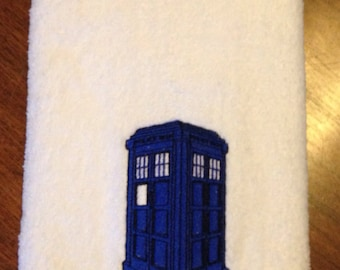 Dr Who inspired Police Call Box Embroidered Hand Towel