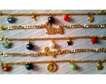 Chain charm bracelets in gold tone/ready to ship