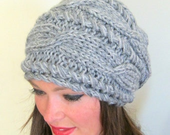 Slouchy Beanie Slouch Hat Cabled Braided Hand Knit Winter Women Hat Adult Gray Grey Cable Knit Hat Christmas Gift