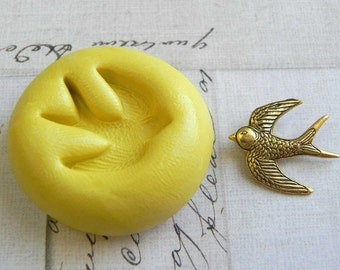 SWALLOW BIRD - Flexible Silicone Mold - Push Mold, Jewelry Mold, Polymer Clay Mold, Resin Mold, Craft Mold, Food Mold, PMC Mold