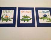 Alligators kids bathroom art, splish splash in the bath, madras gators art prints, kids batrhoom art,alligator bathroom art