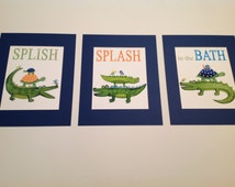 Alligators kids bathroom art, splish splash in the bath, madras gators art prints, kids batrhoom art,alligator bathroom art