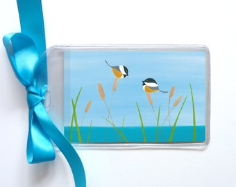 Chickadee Luggage Tag - Lake Birds Bag Tag