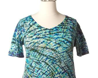 XXL Shibori V-Neck T Deep violet-green Tie Dye Shirt Women's