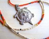 Lotus Turtle // Beaded Necklace // Vintage Tibetan Silver Pendant // Red Ivory Black Gold Glass Beads // Taoist Buddhist Jewelry - BJ0028