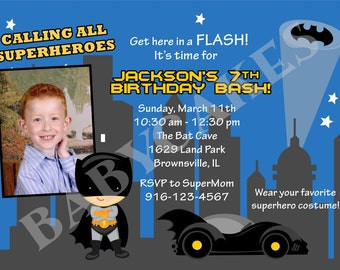 Batman Birthday Invitation Invite Superhero Party Invitation Prinable DIY print your own Photo Picture