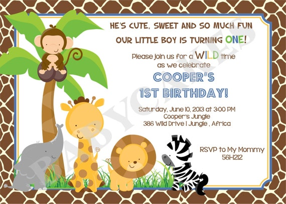 Jungle Animals Birthday Party Invitation Safari Animals Zoo Animals -  DIY Print Your Own - Matching Party Printables available