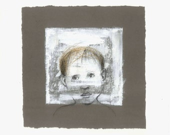 painting Boy art original drawing illustration portrait window people face square