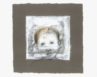 painting Boy art original drawing illustration portrait window people face square
