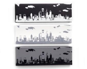 Philadelphia Skyline Canvas: Monochrome Trio (12 x 4 inches each, Black, White, & Gray) Cityscape Screen Print and Painting Home Decor