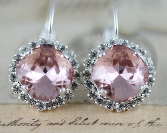 Pink Bridesmaids Gift Pink Bridesmaid Earrings Set of 5 pairs Bridal Party Gift Pink Wedding Clip On Avail Vintage Rose Swarovski Silver