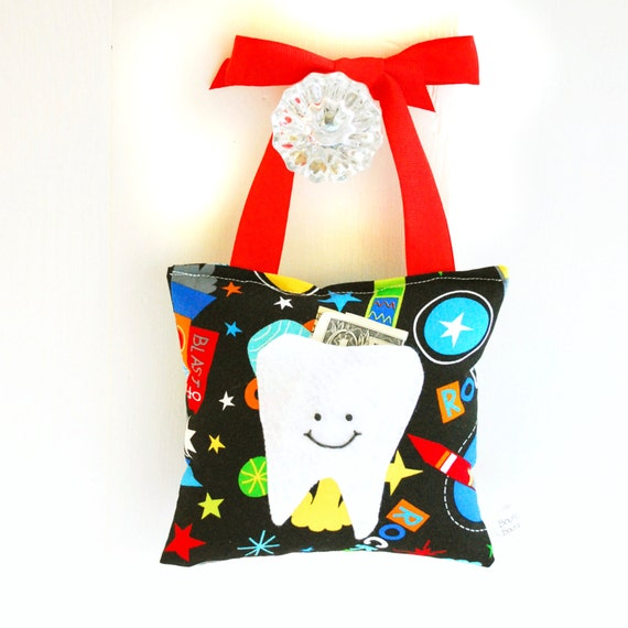 Tooth Fairy Pillow Tooth Fairy Gift in Outer Space Rocket Ship Print
