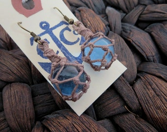 Miniature Fishing Float Earrings - Sky Blue with Tan Hemp