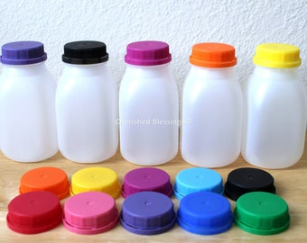 Milk Bottles, Baby Shower Favors, Plastic Milk Containers With Colored Lids Without Straw Holes, Plastic Kids Party Cups Farm Party Baby