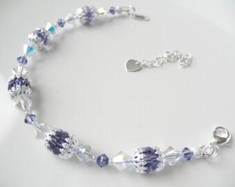 Swarovski Crystal Bracelet in Lt Turquoise, Crystal AB or Tanzanite Purple - You Choose Color Bridal Bracelet Beach Wedding Something Blue