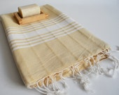 SALE 50 OFF/ Turkish Beach Bath Towel Peshtemal / Beige - White Striped / Bath, Beach, Spa, Swim, Pool Towels