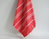 Shipping with FedEx - Turkish BATH Towel - Classic Peshtemal - Beach, Spa, Swim, Pool Towels and Pareo Red