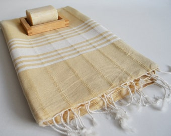 SALE 50 OFF/ BathStyle / No8 Golden Sand Color / Turkish Beach Bath Towel Peshtemal / Bath, Beach, Spa, Swim, Pool Towels