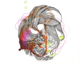 Element XXII / Giclee print / organic / muscles / botany / abstract painting/ drawing / elemental / feathers / scales / earth / red / plant