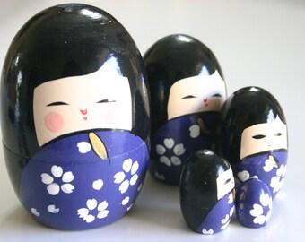 Blue Kokeshi Russian Dolls - 1 set of Nested Matryoshka Wooden Japanese Kokeshi doll