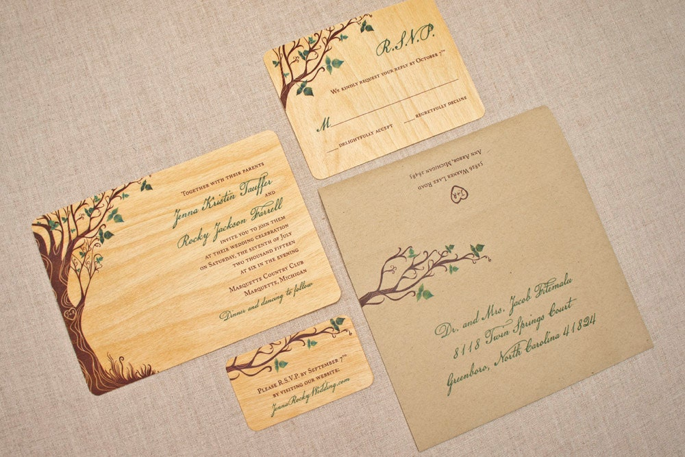 Real Wood Wedding Invitations: Unique Wedding Invitations On Real Wood Green Curly Tree