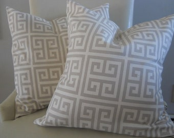 Designer Fabric greek key fabric throw pillow cover natural taupe off white cotton 18