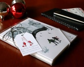 Holiday Card Collection, Central Park, Ice Skaters, Handmade Holiday Cards, 6 Card & Envelope Set, Red and Green, Wintry, Seasons Greetings