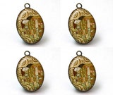 4 pcs, Jewelry Pendants, Jewelry Making Supplies, Charms Wholesale, Gustav Klimt, Tree of Life, Famous Painting, A38-09-293